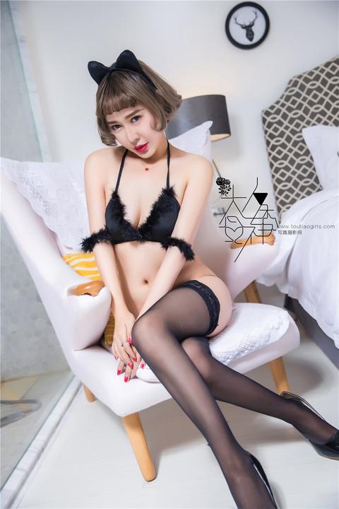 可爱不失性感猫女装美女颜美汐长筒黑丝袜诱惑