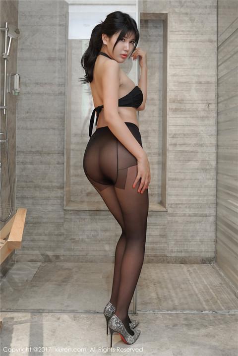 超性感黑丝袜美女安沛蕾浴室大秀美臀图